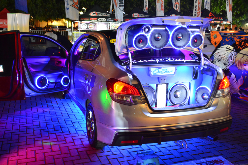 car with multiple speakers