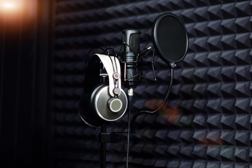 studio headphones and microphone for sound recording