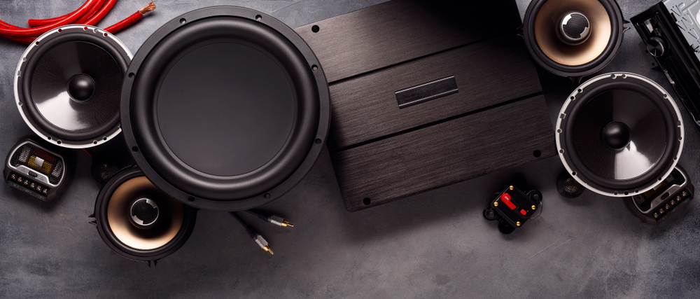 subwoofer and components on bench